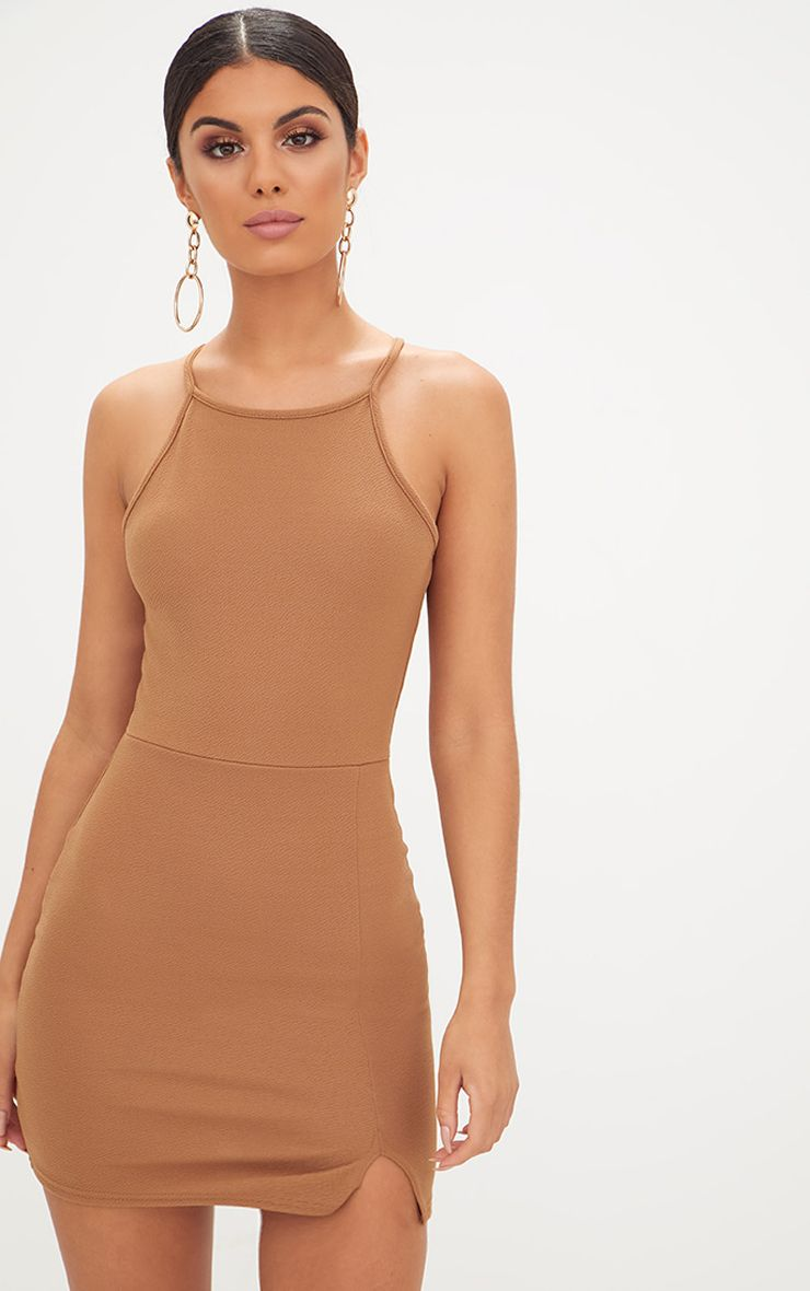 Product photo of Aniqah camel high neck split detail bodycon dress camel