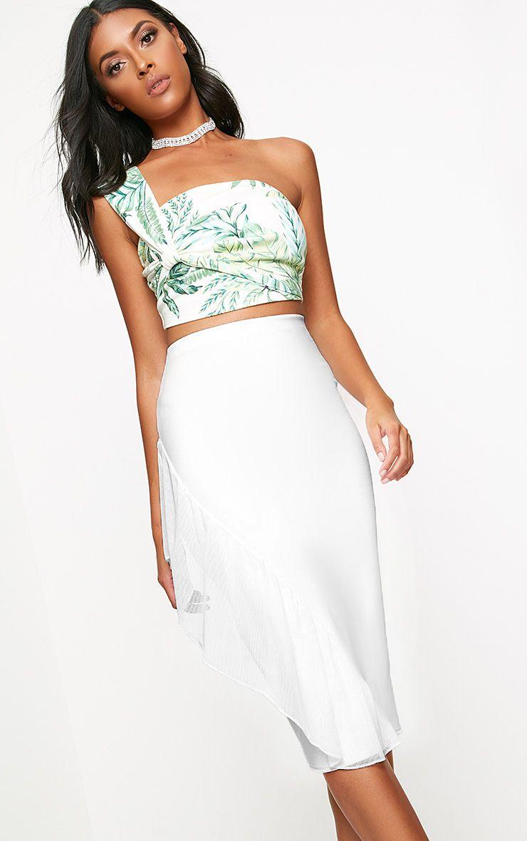 White Tulle Frill Midi Skirt