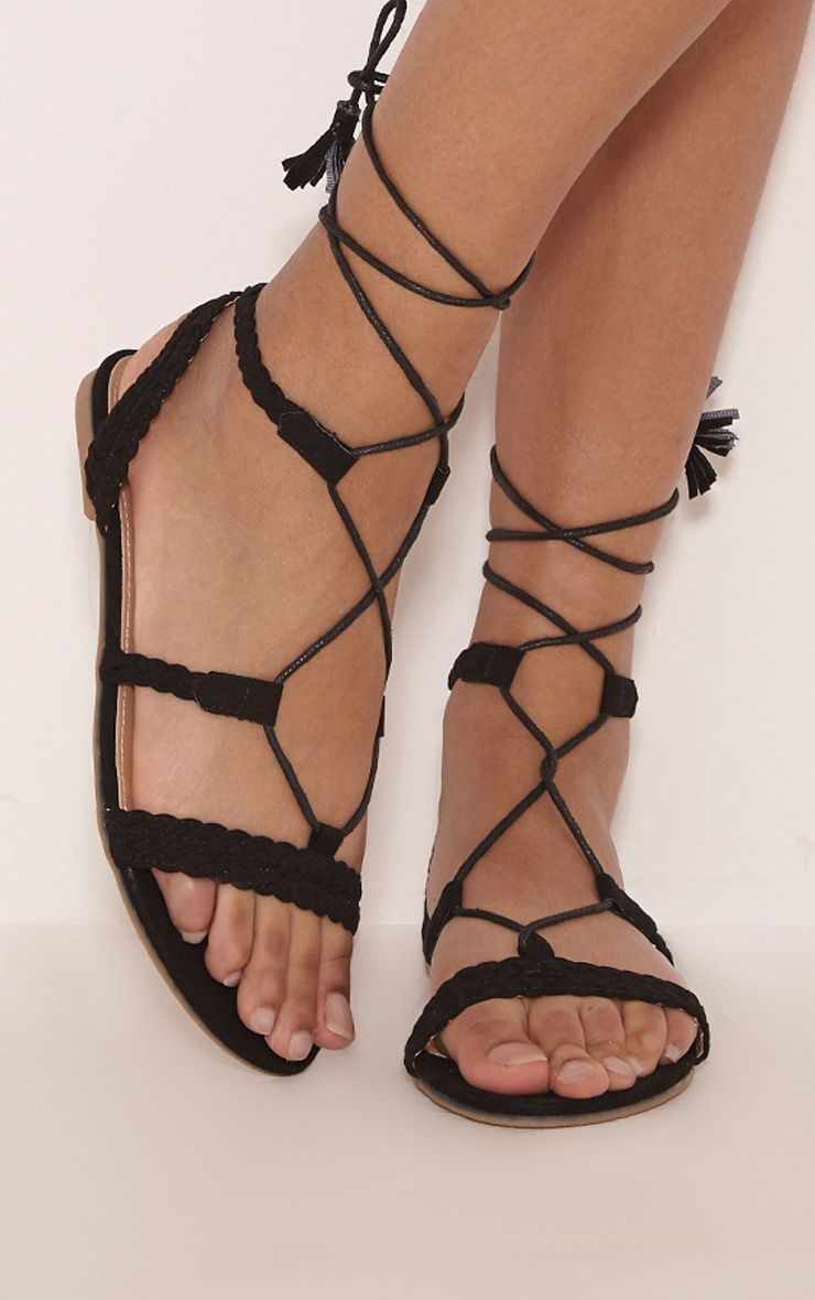 Catia Black Lace Up Detail Sandals