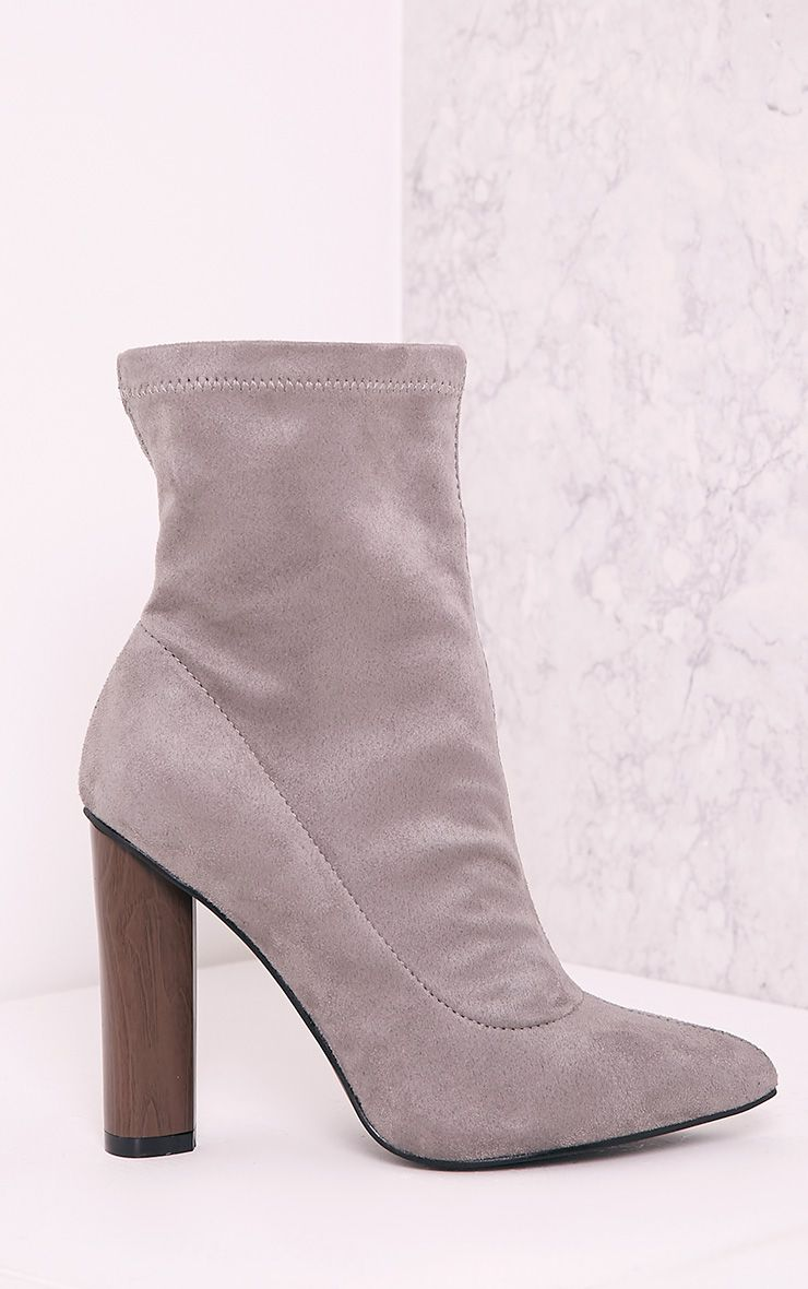 Celisa Grey Faux Suede Sock Ankle Boots 1