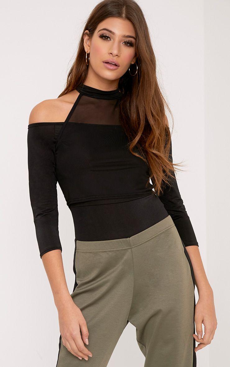 Veronica Black Slinky Mesh Bardot Bodysuit