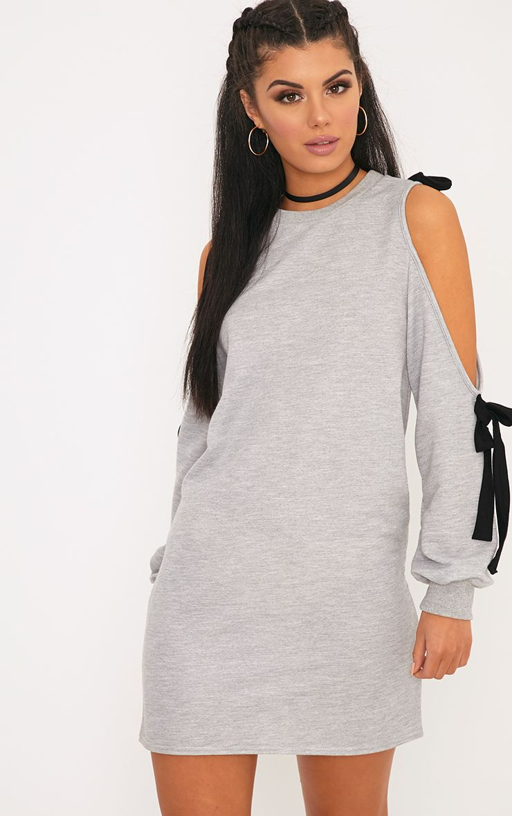 Naaveah Loop Back Tie Sleeve Jumper Dress Grey