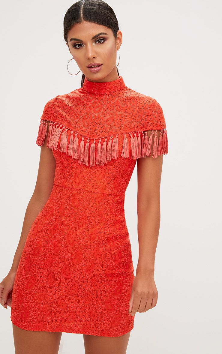 Orange Lace Tassel Detail Bodycon Dress