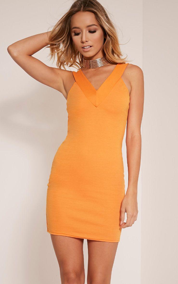 Shayla Bright Orange  Ponte Plunge Bodycon Dress 1
