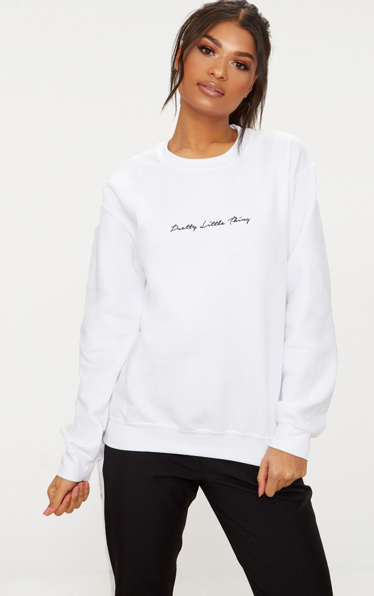 White Embroidered PrettyLittleThing Oversized Sweater