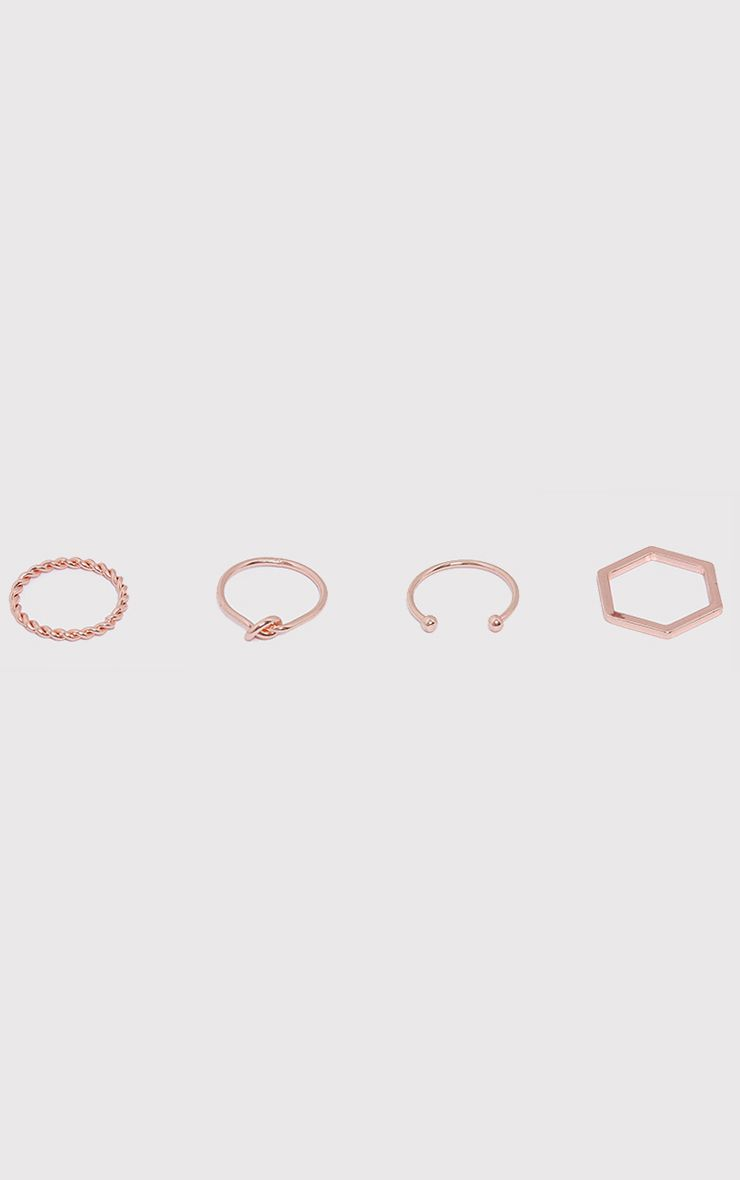 Four Pack Rose Gold Multi Rings 1