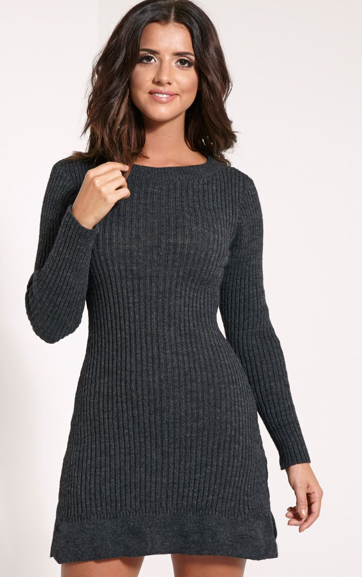 Laney Dark Grey Knitted Frill Hem Dress 1