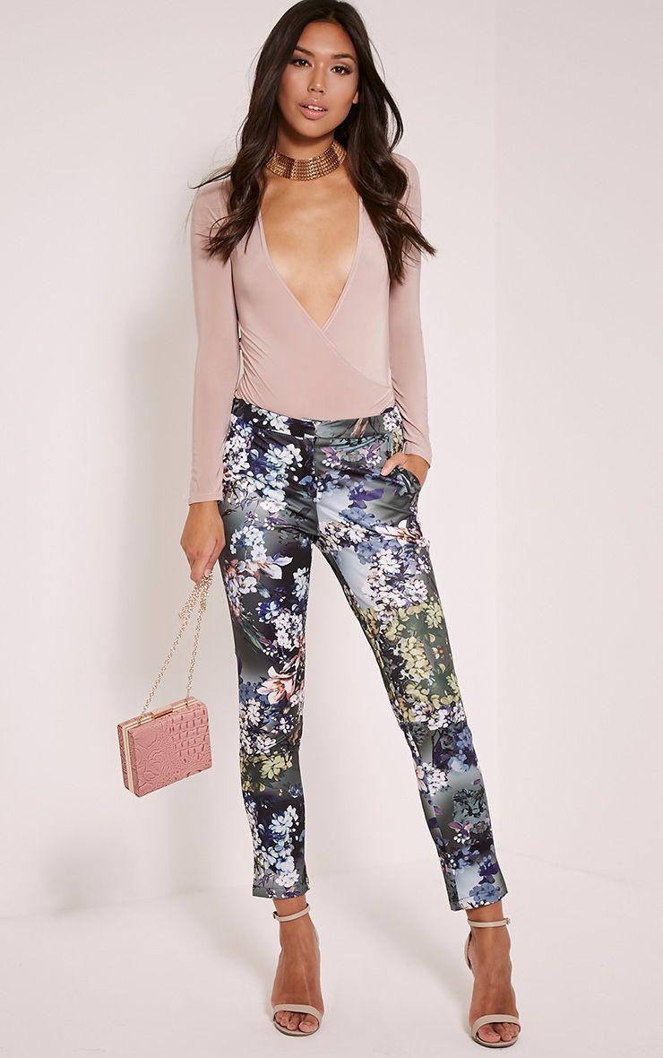 Linnie Khaki Floral Cigarette Trousers 1