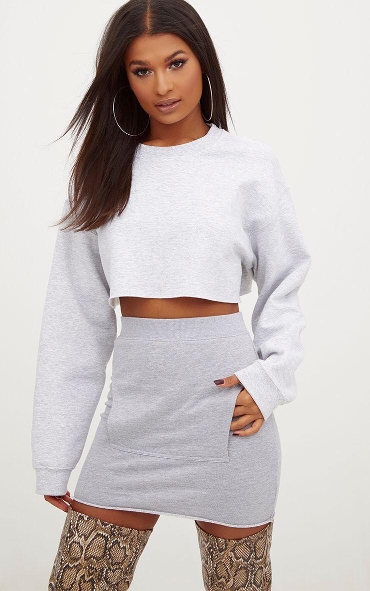 Grey Sweat Pocket Mini Skirt
