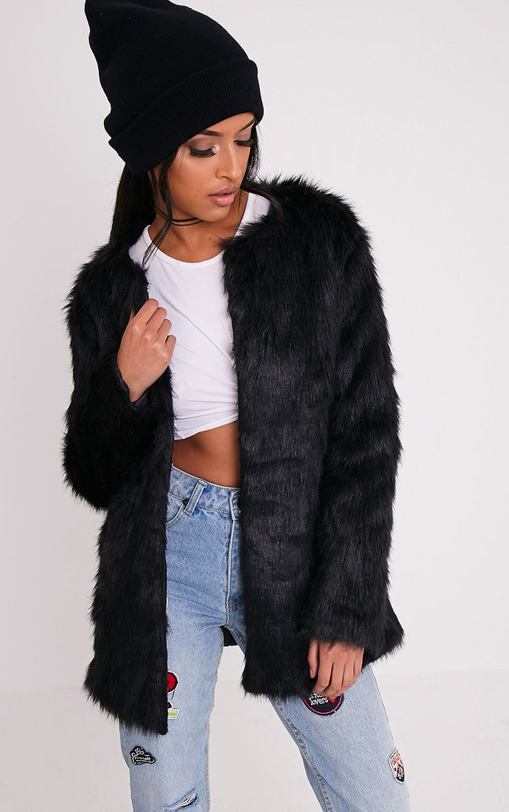 Florencia Black Faux Fur Coat 1