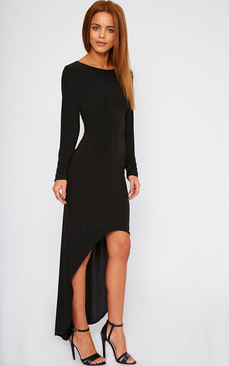 Fearne Black Slinky Dip Hem Dress 1