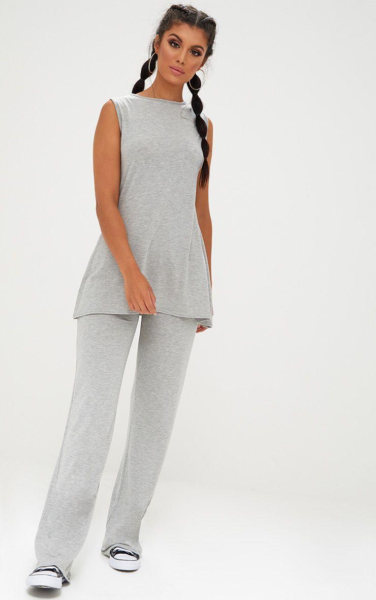 Grey Marl Soft Longline Vest & Wideleg Set