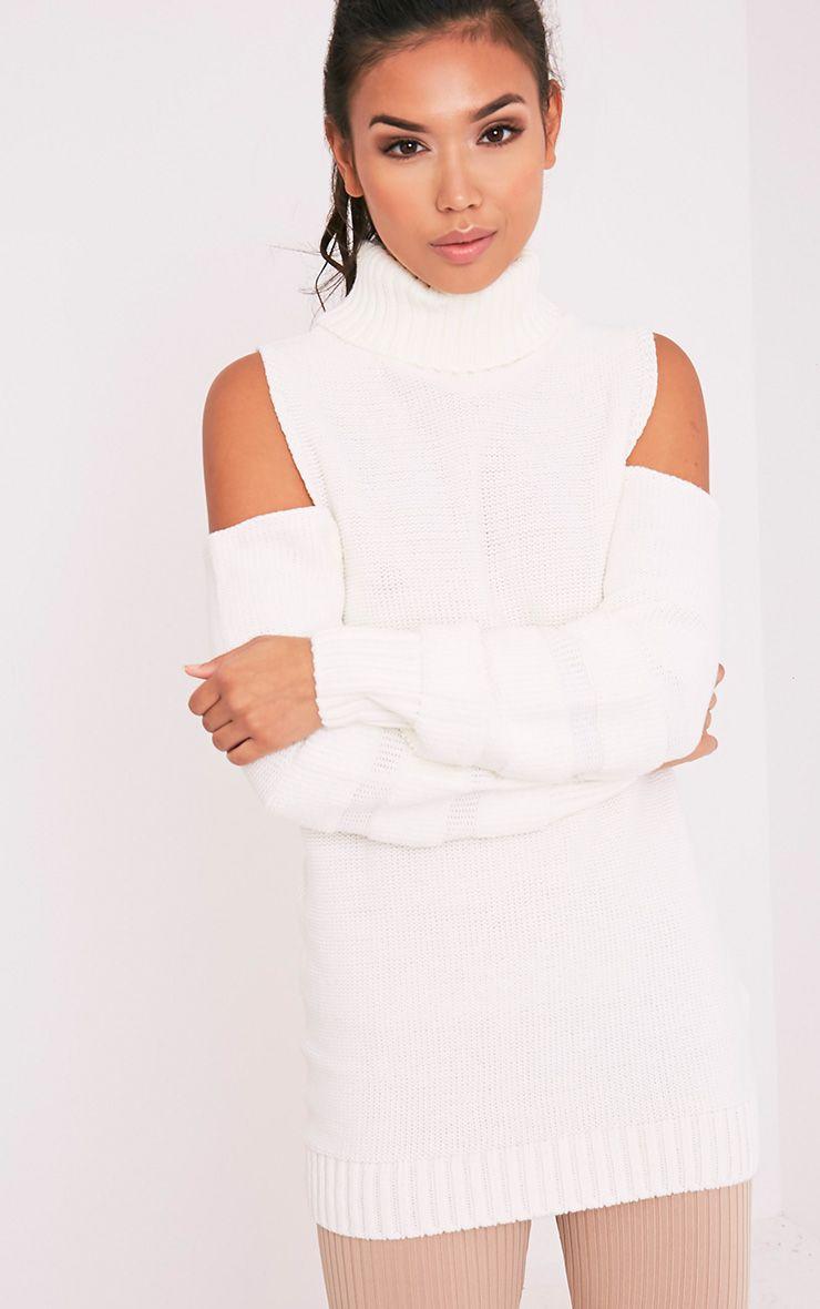 Hunni White Stripe Cold Shoulder Roll Neck