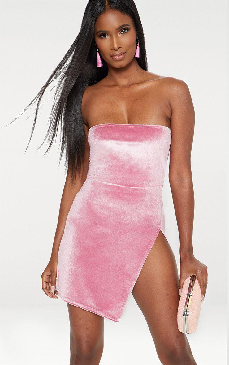 Baby Pink Velvet Bandeau Extreme Split Bodycon Dress 1