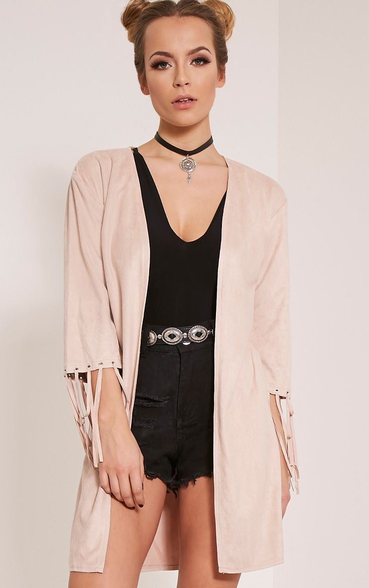 Luna Stone Faux Suede Tassel Kimono Jacket 1