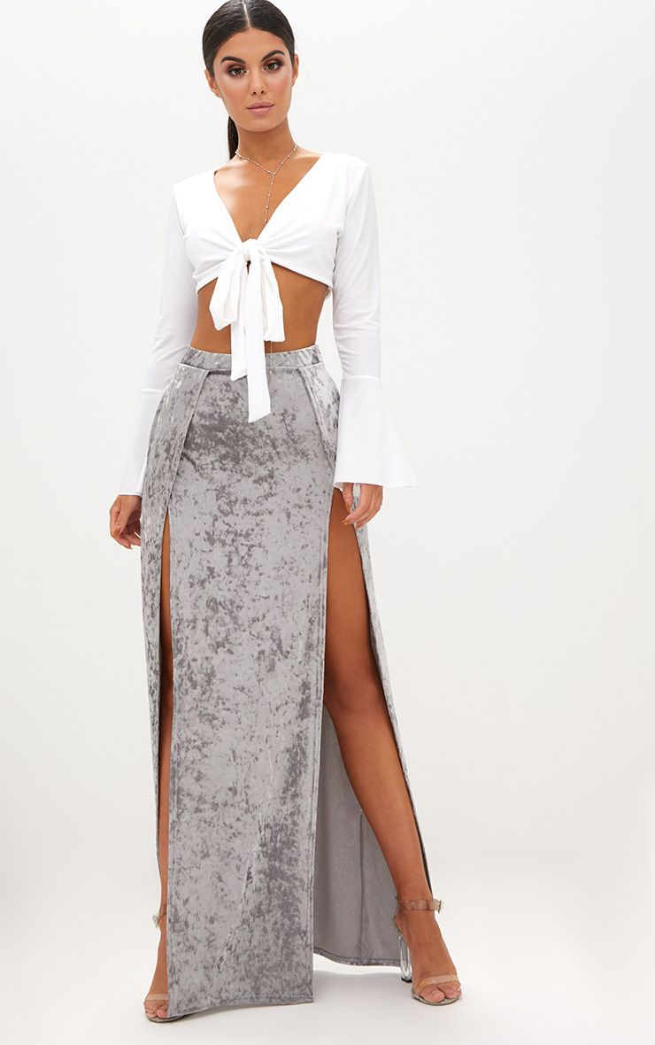 Grey Crushed Velvet Double Split Maxi Skirt