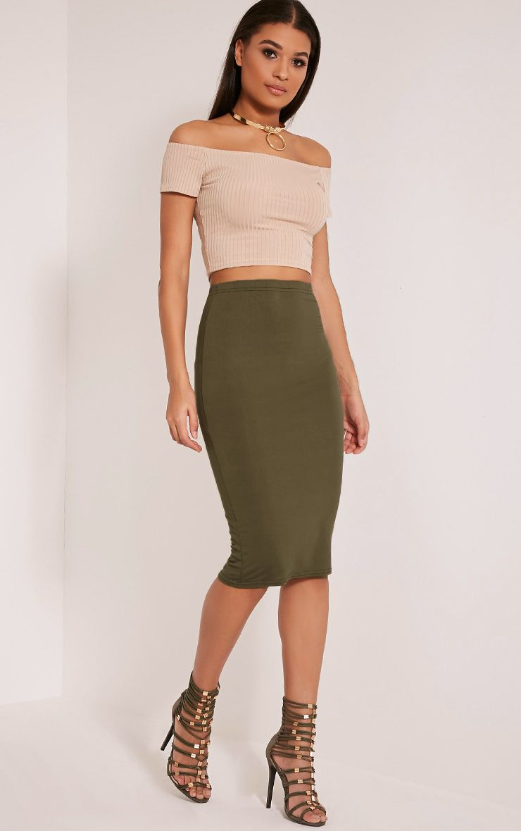 Basic Khaki Midi Skirt