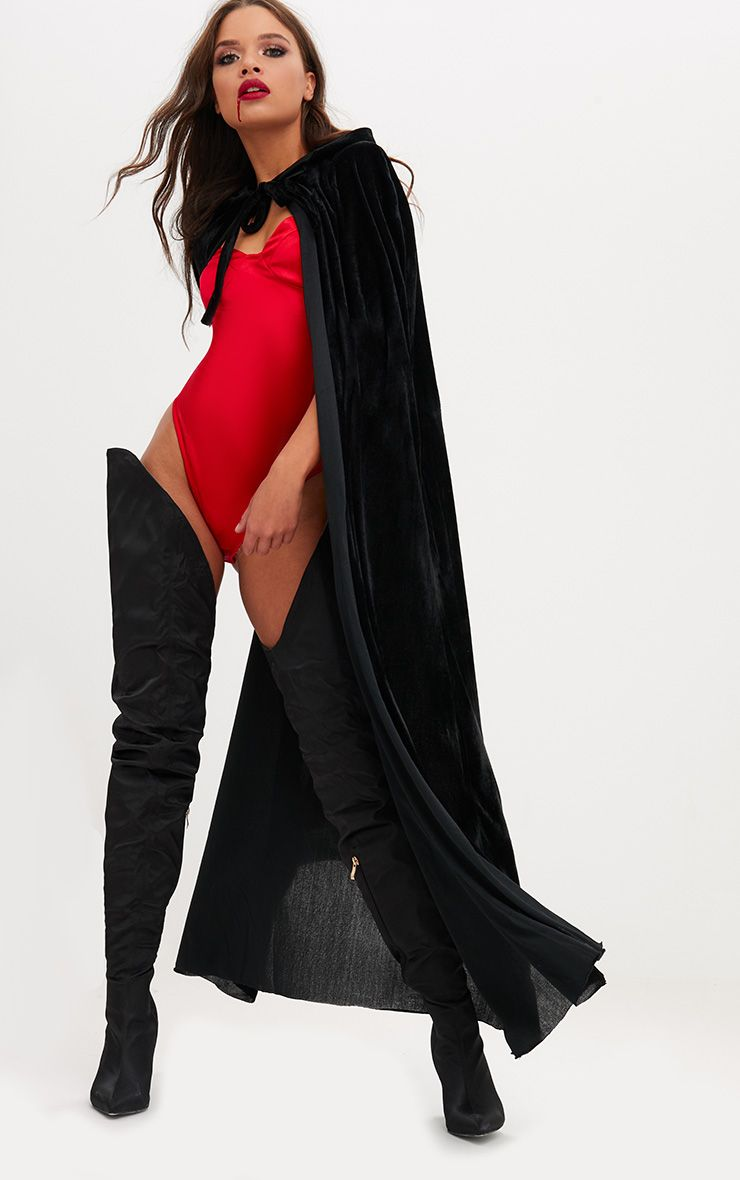 Halloween Black Velvet Hooded Cape 1
