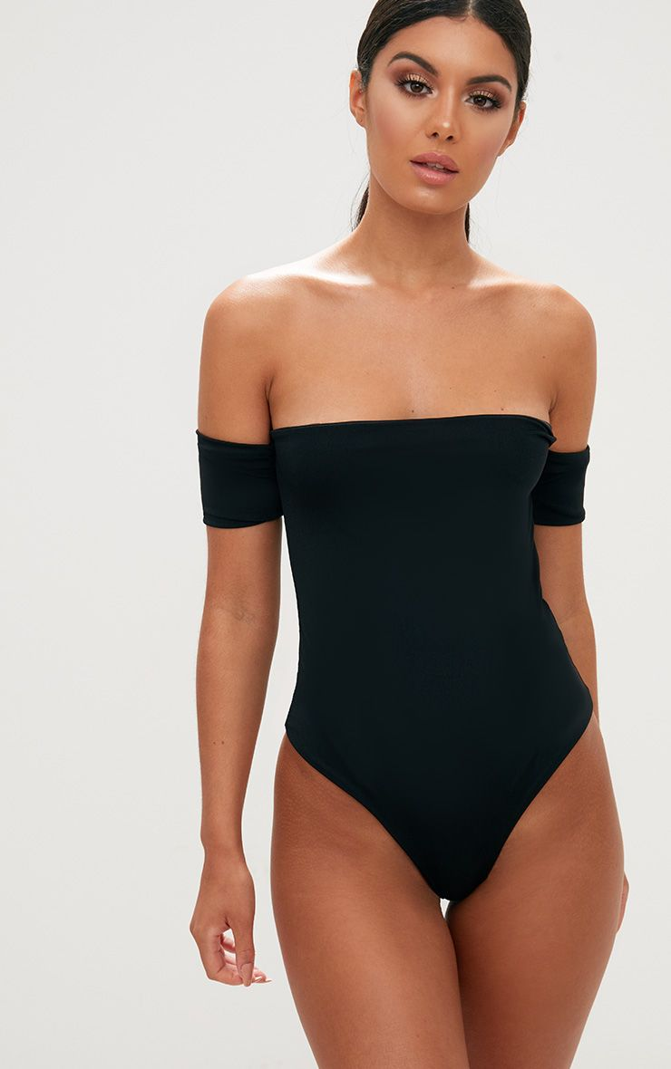Black High Leg Bardot Swimsuit