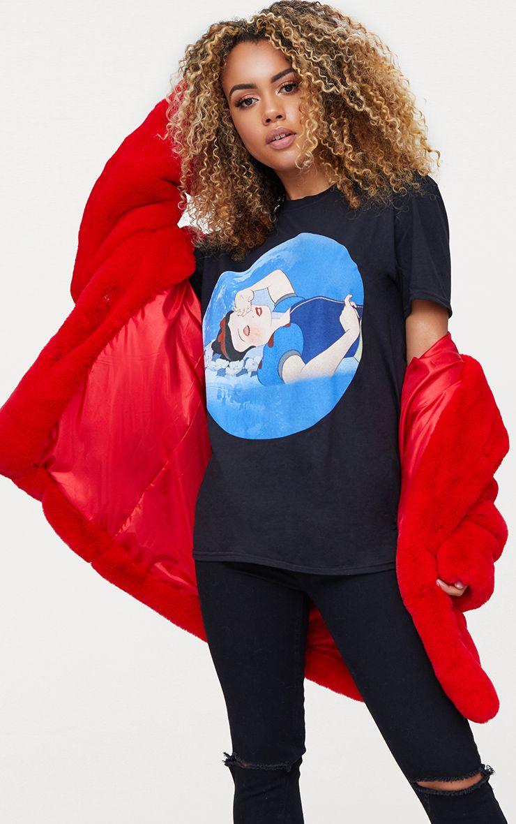 Disney Black Snow White Slogan T Shirt 1