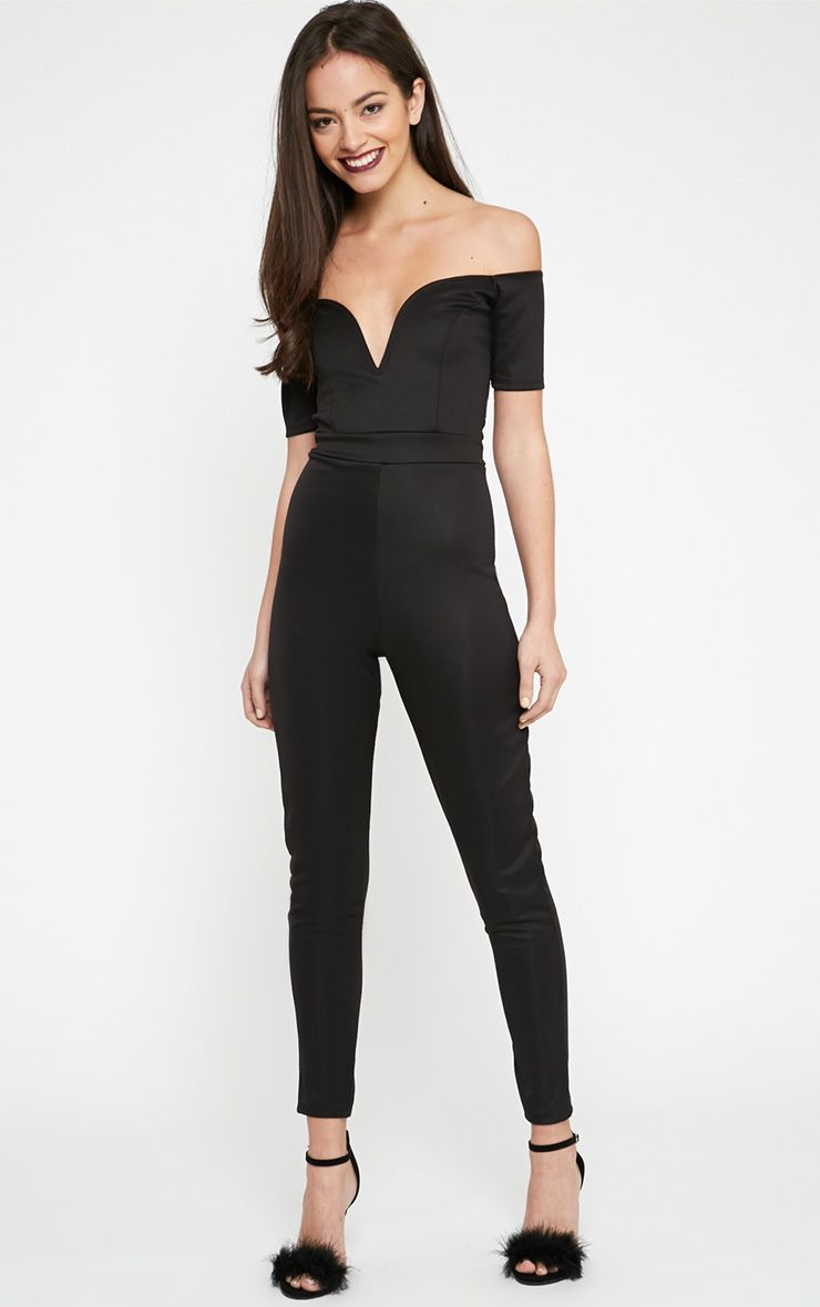 Azra Black Sweetheart Bardot Jumpsuit  1