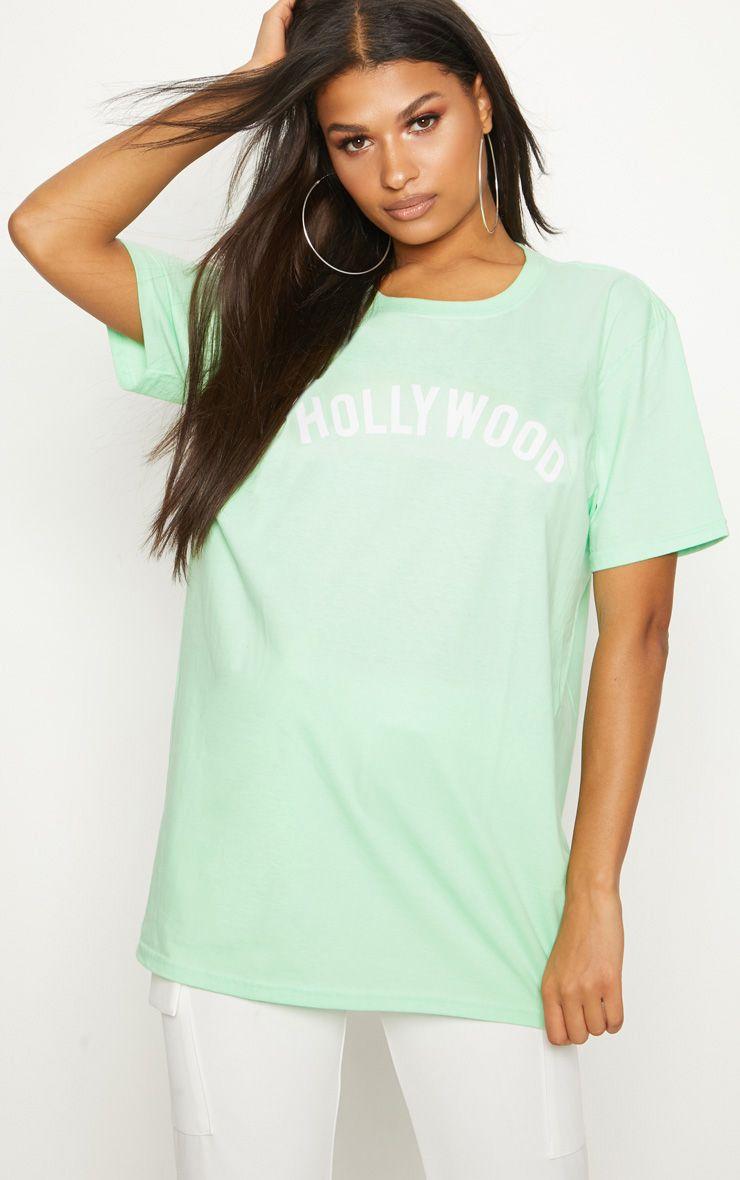 Mint Hollywood Slogan Oversized T Shirt