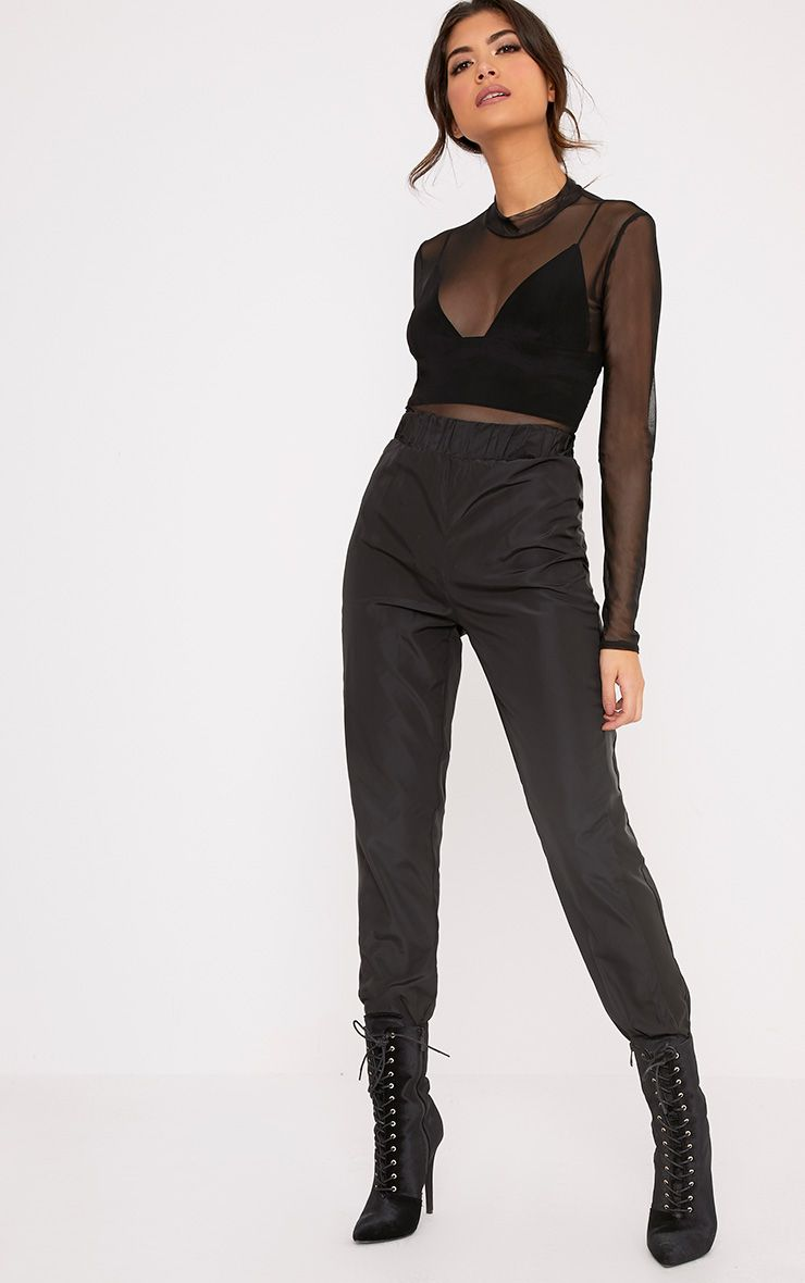 Tayla Black Satin Stripe Cuff Trousers