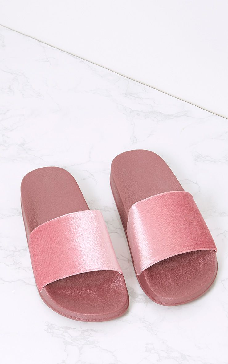 Raquel Dusty Pink Velvet Sliders
