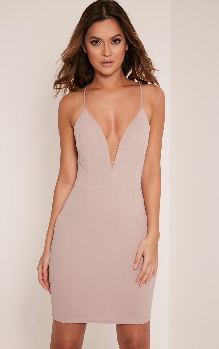 Mellia Taupe Plunge Bodycon Dress 1