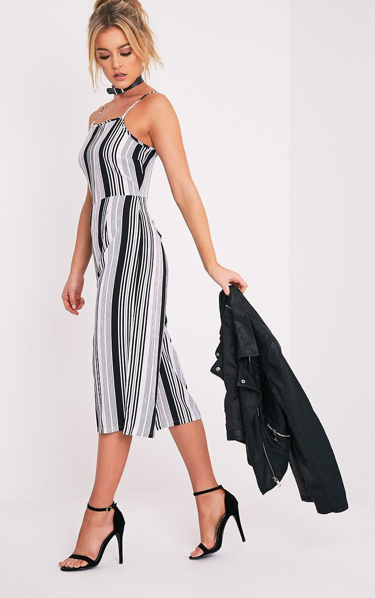 Penny Monochrome Stripe Culotte Jumpsuit
