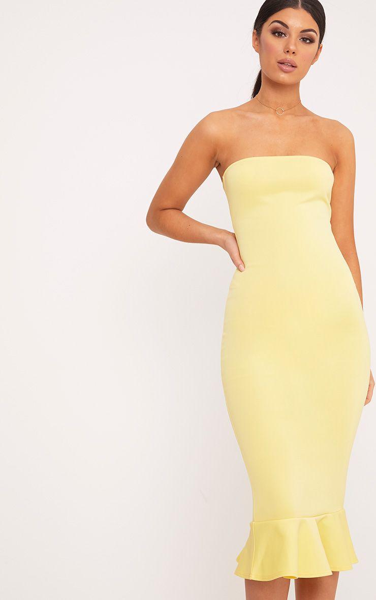 Isabella Lemon Bandeau Frill Hem Midaxi Dress