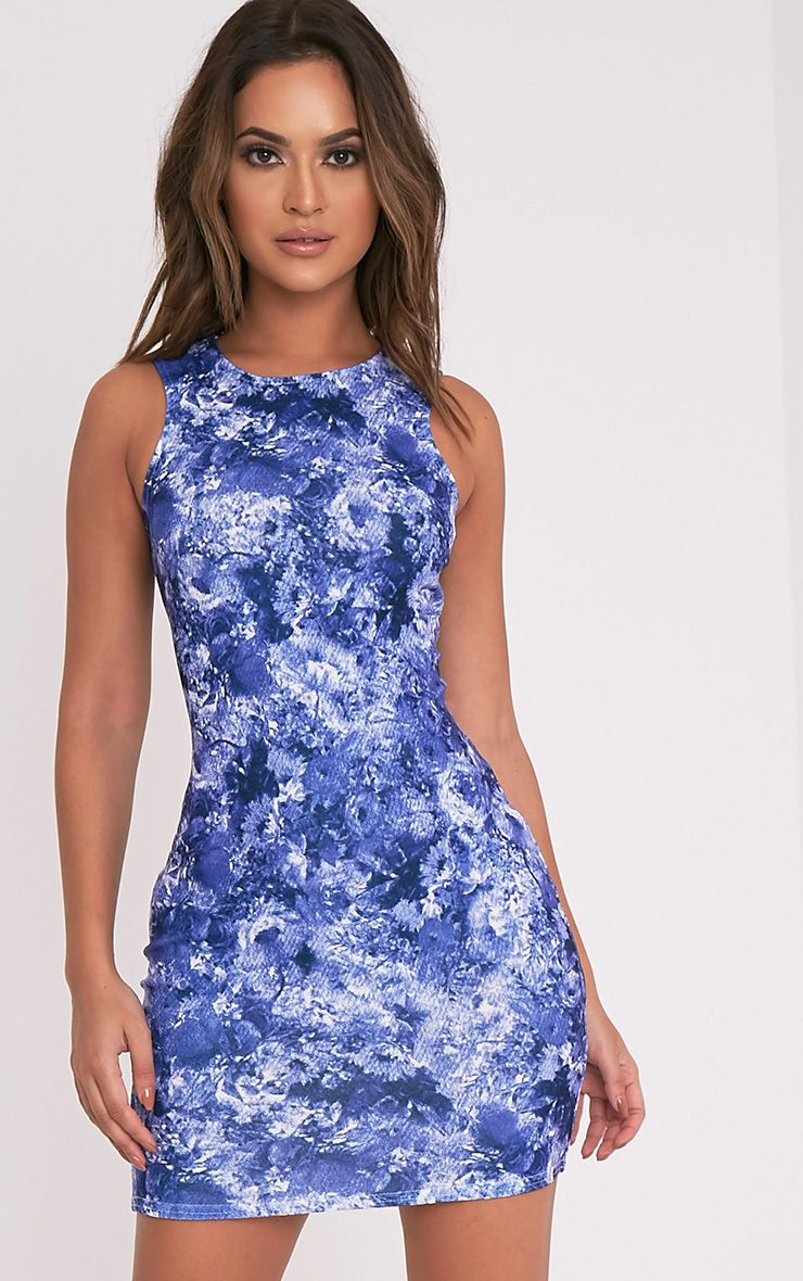 Kamaya Blue Oriental Print Racer Neck Mini Dress