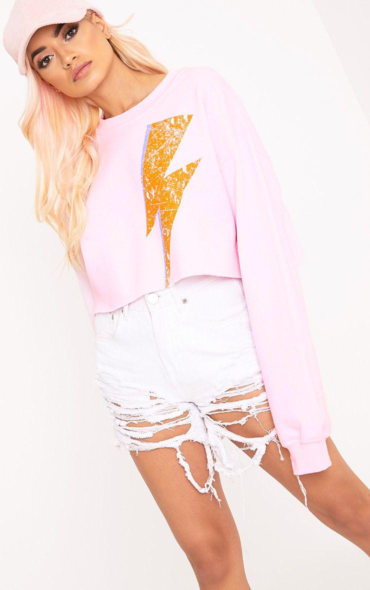 Lightning Slogan Light Pink Cropped Sweater