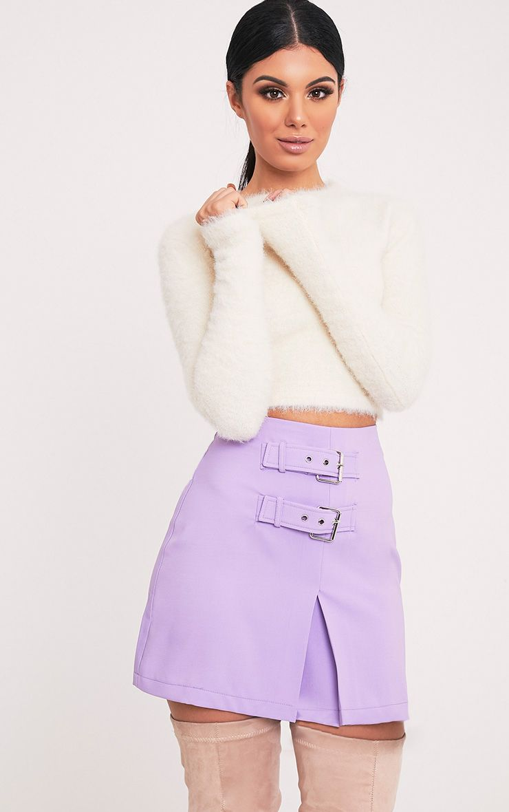 Danika Lilac Double Buckle Mini Skirt