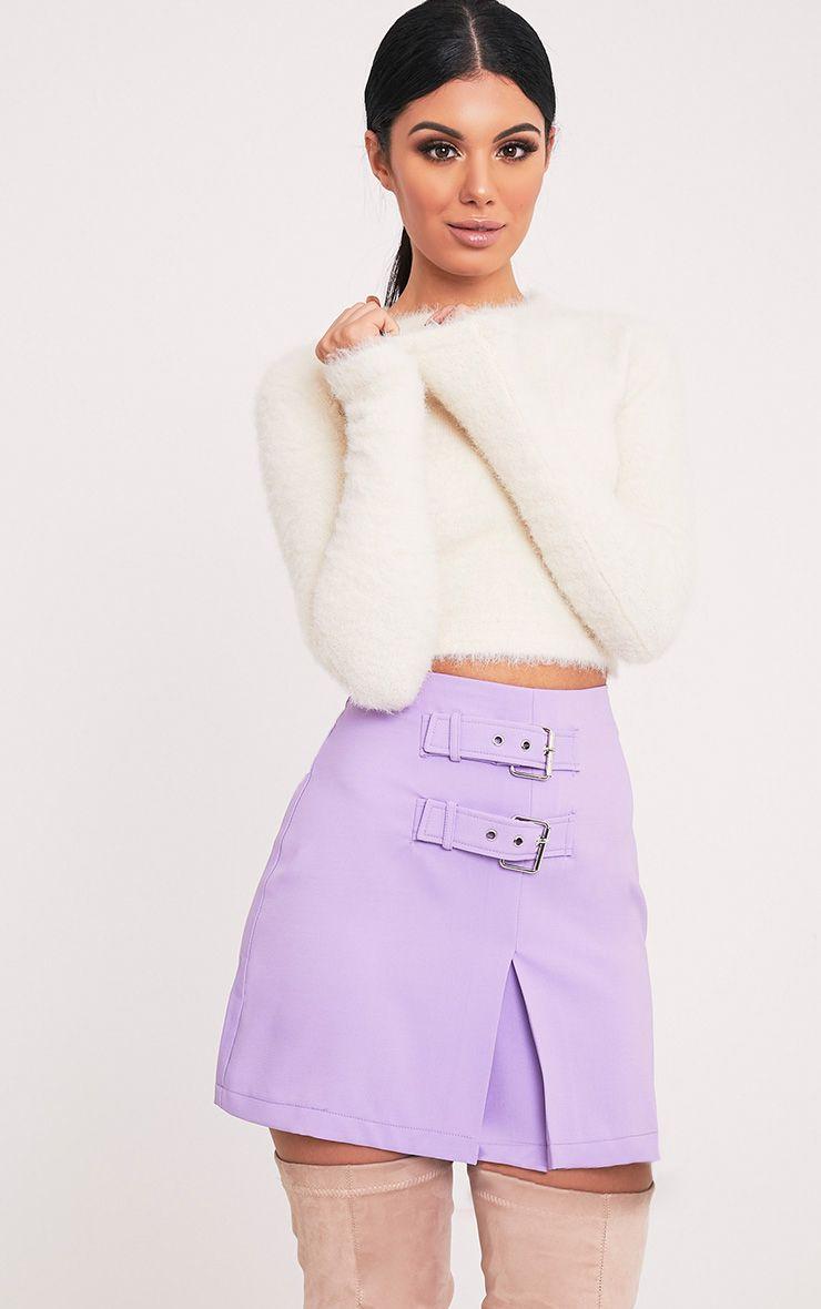 Danika Lilac Double Buckle Mini Skirt