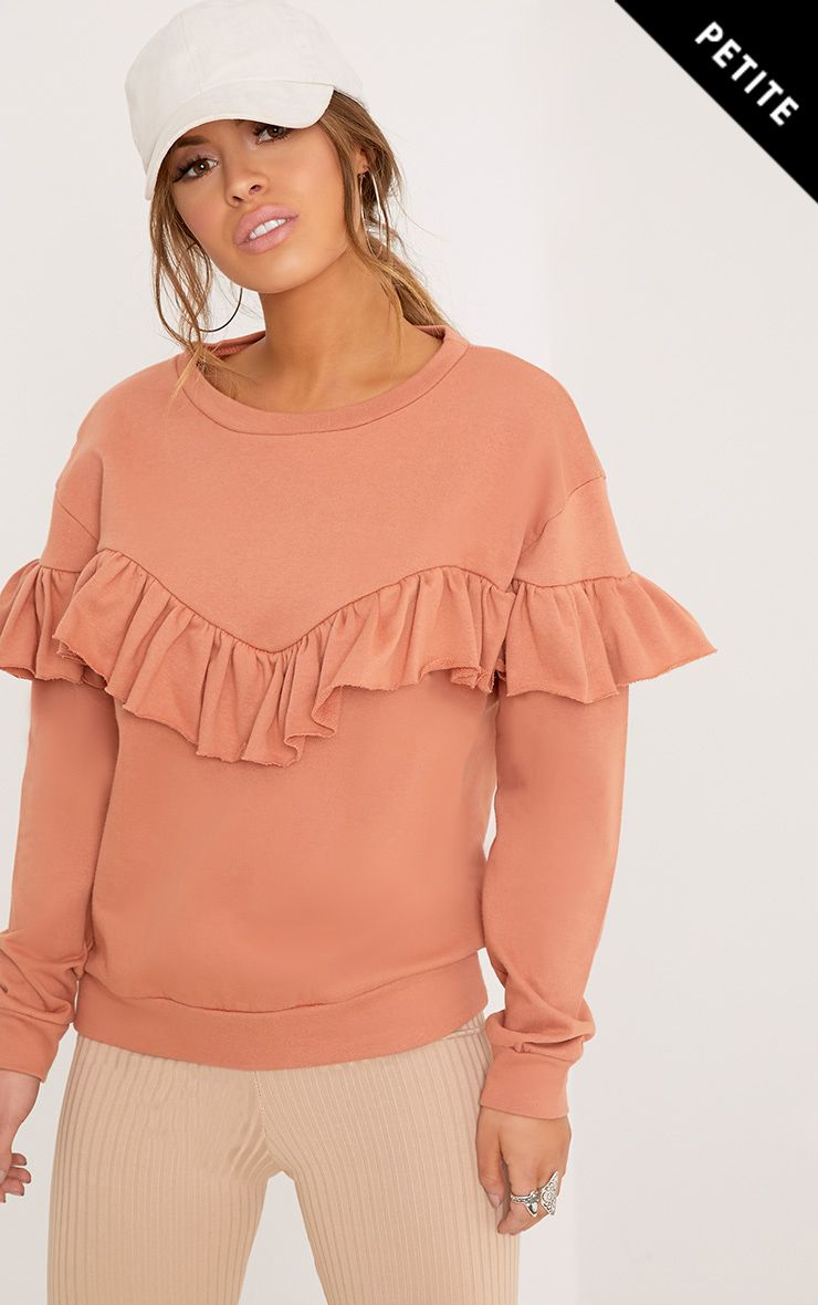 Petite Sky Deep Peach Ruffle Detail Sweater