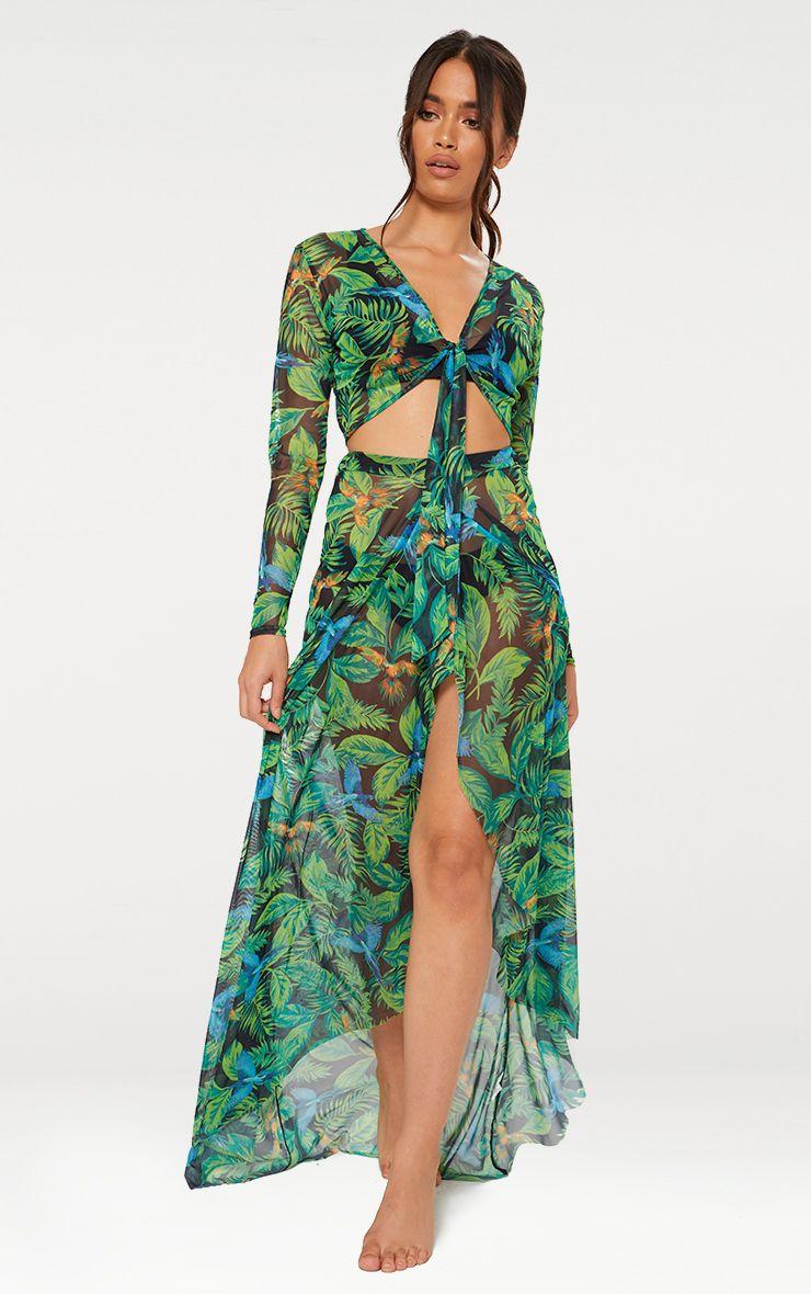 Green Tropical Print Beach Skirt
