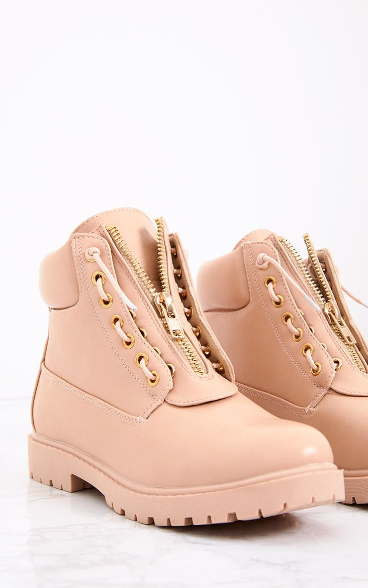 Michella Nude Zip Up Boots