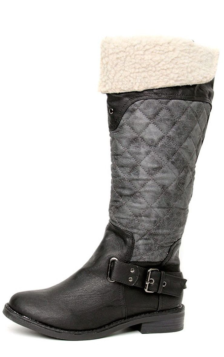 Manda Quilt & Shearling Knee Boot  1
