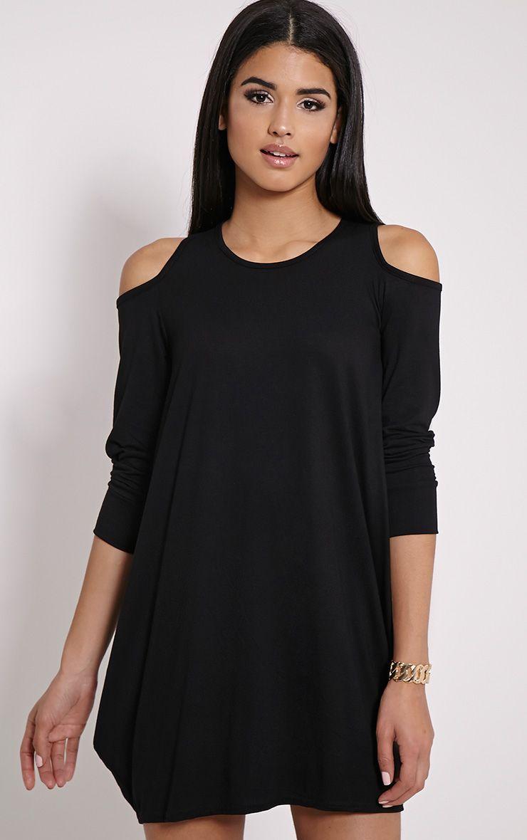 Bronywn Black Cut Out Shoulder Dress