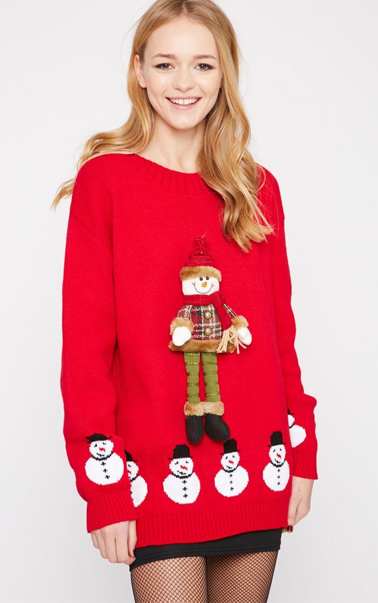 Kara Red 3D Snowman Toy Christmas Jumper  1