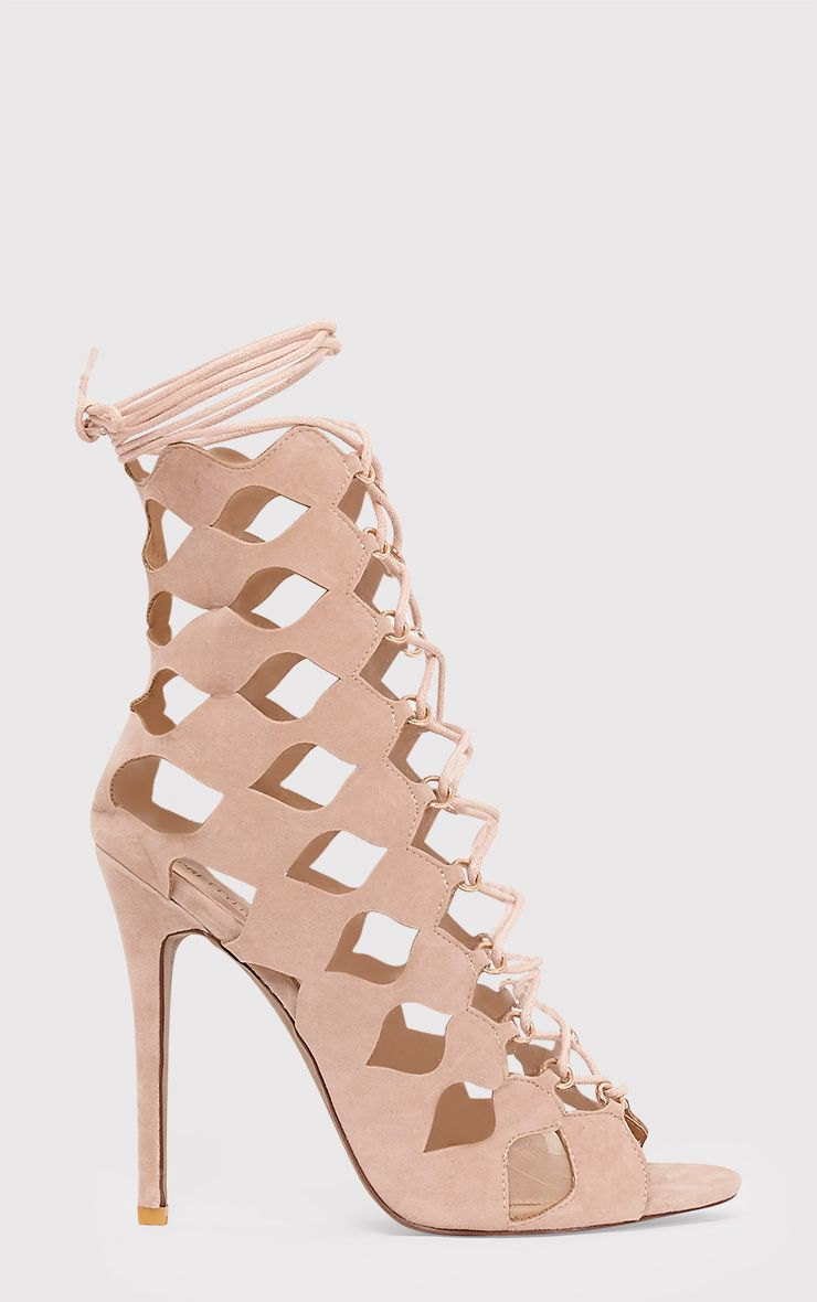 Chey Nude Geometric Cut Out Lace Up Heels