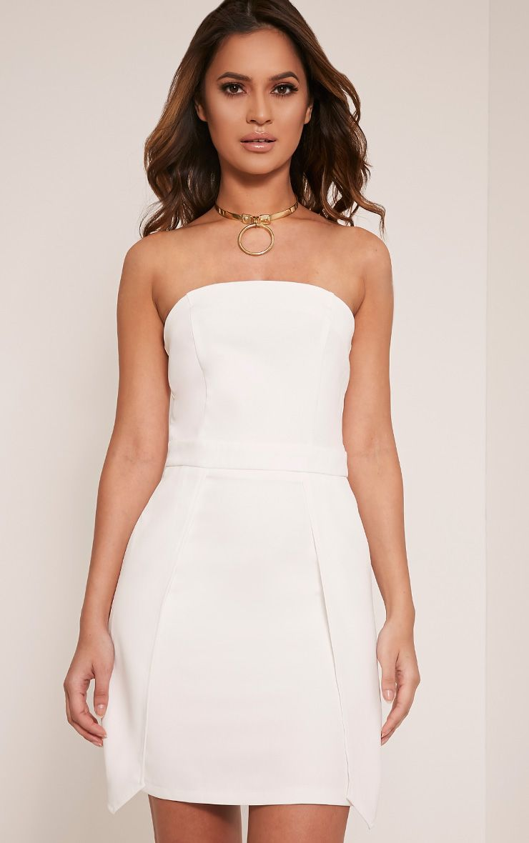 Jonna White Crepe Bandeau Mini Dress