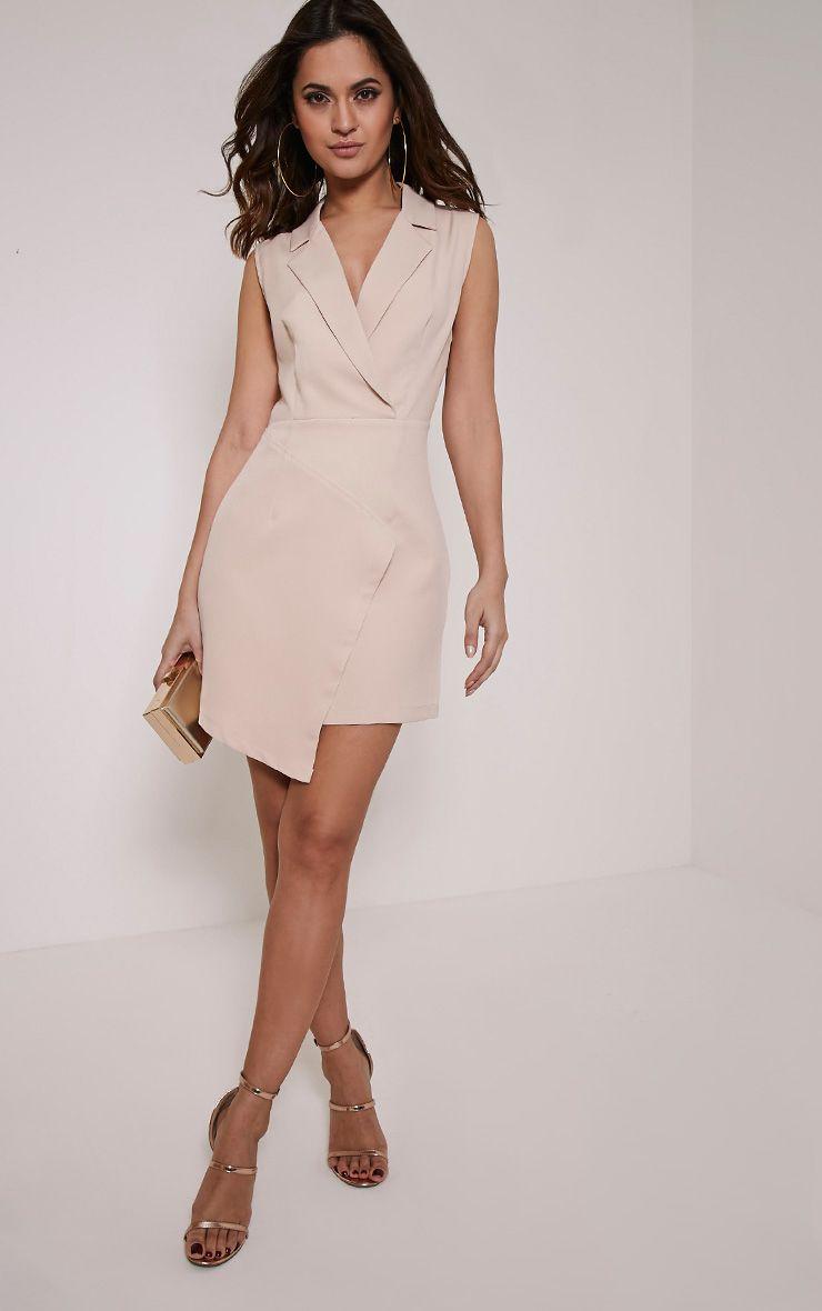 Sarabi Nude Sleeveless Blazer Style Dress 1