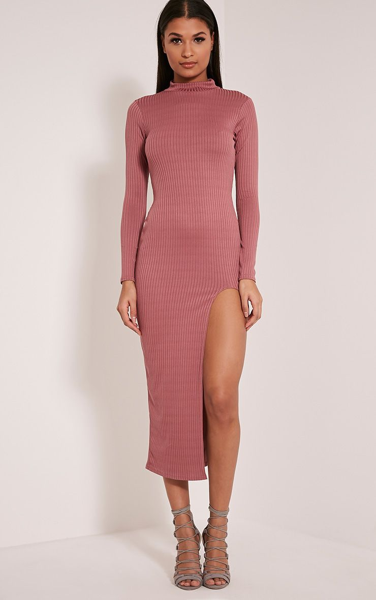 Sia Rose High Neck Split Front Ribbed Midi Dress 1