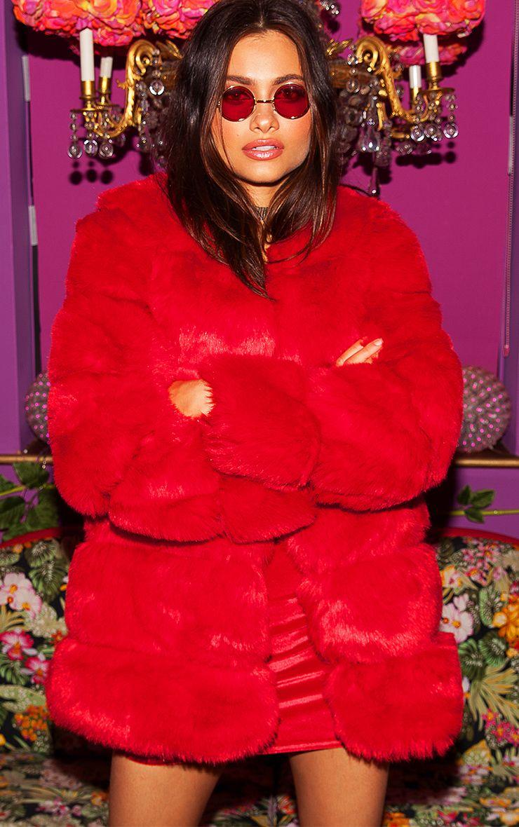 Red Faux Fur Bubble Coat 1