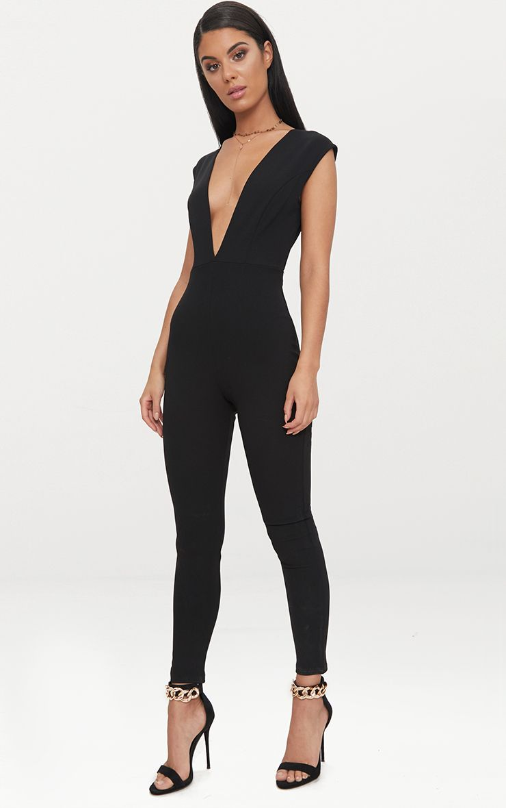 Black Crepe Plunge Open Back Jumpsuit