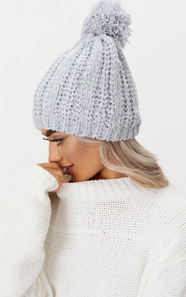Grey Pom Pom Chenille Beanie Hat