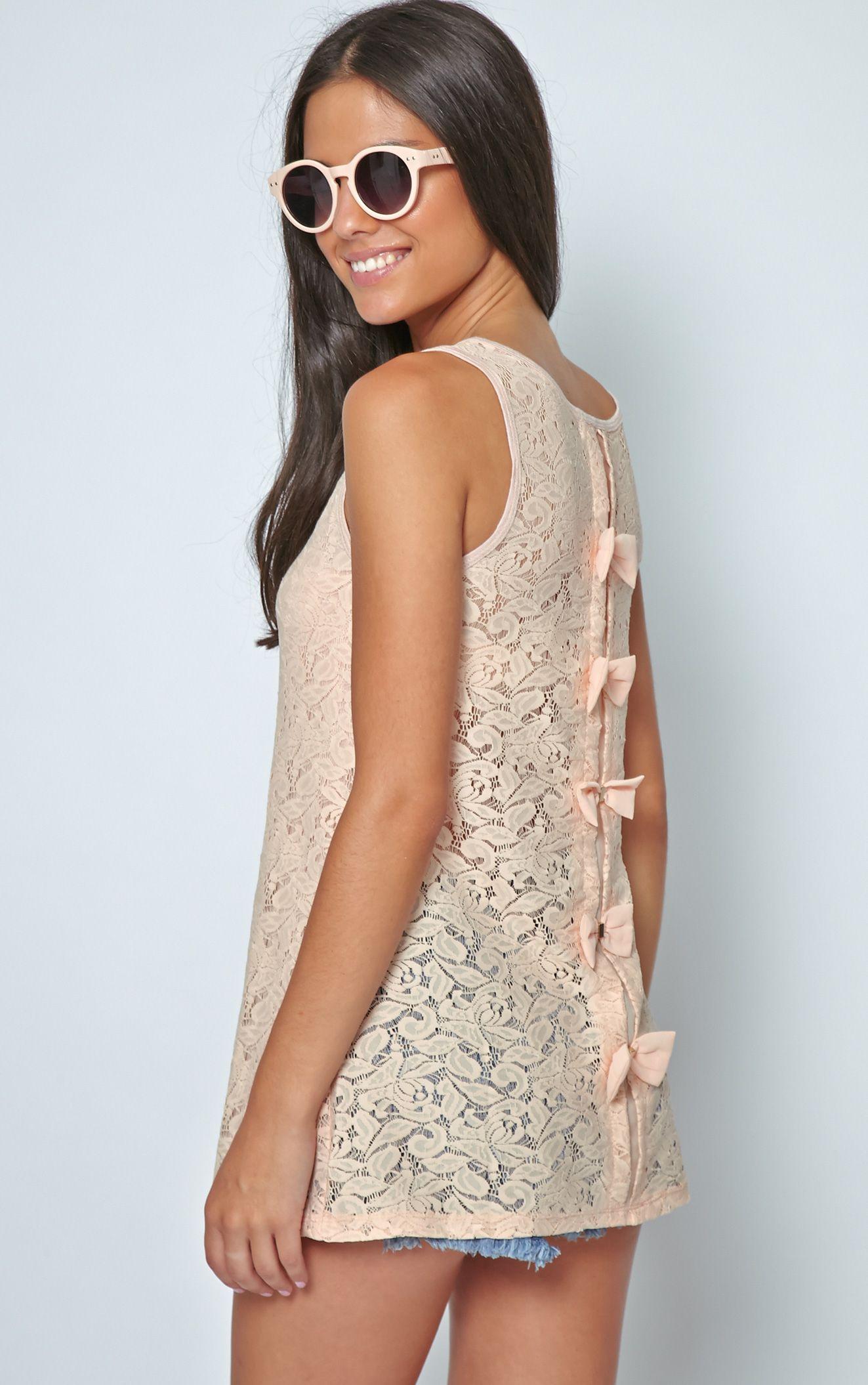 Leia Peach Lace Crochet Longline Bow Vest 1