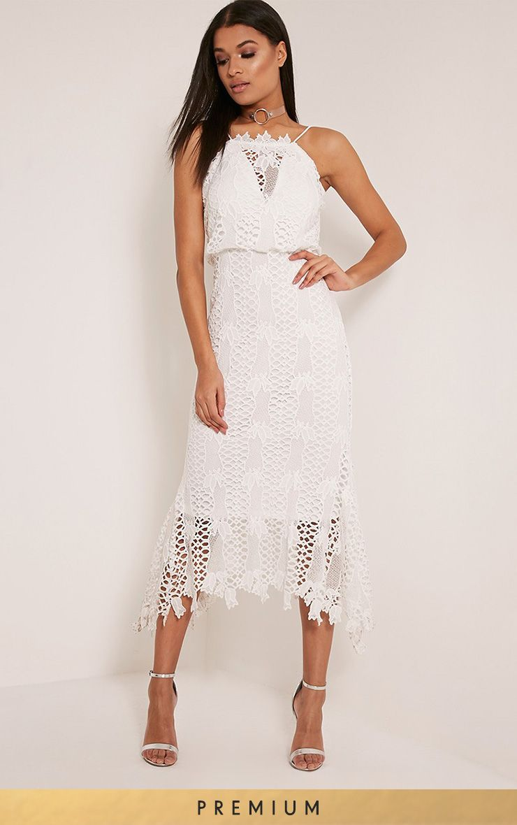Reeya White Premium Lace Midaxi Dress